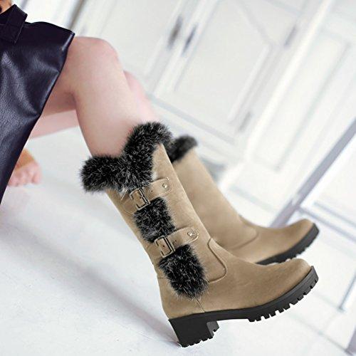 Casual Yiiquan Stivaletti Stivali Neve Inverno Beige Boots Snow Da Con Donna Denso Foderato UnxpwPn