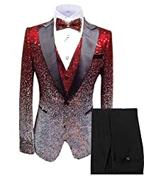 Men's 3 Piece Shiny Sequin Suit