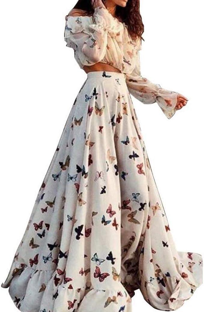 Boho set fashion dress crop top and long skirt beach dress women 2 pc set