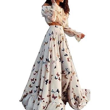 ff8d10d5f9c8 FidgetGear Two Piece Boho Crop Top Long Skirt Set