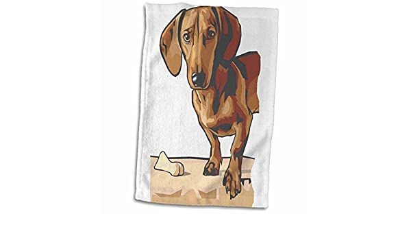 3D Rose Cute and Cuddly Canine Standing Dachshund Towel 15 x 22