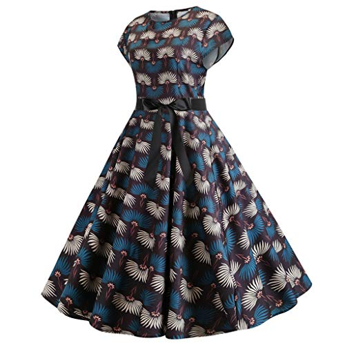 Sharemen Women's Fashion Short-Sleeved Circular-Collar Digital Printed Dresses(Blue,S) (Digital Sheaths)