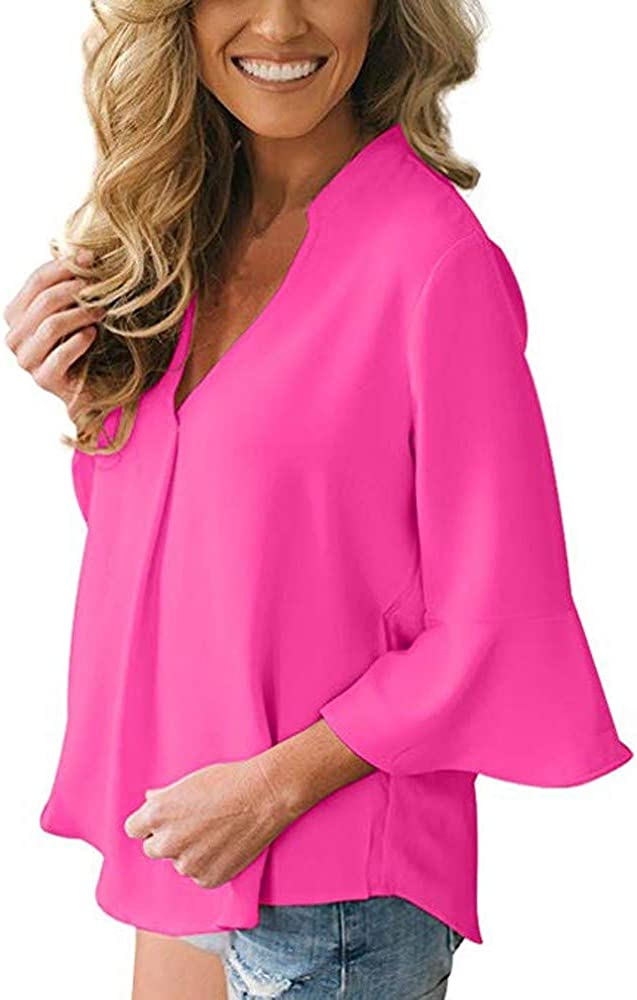 JESPER Womens Casual Loose Solid V Neck Peplum Sleeve Chiffon Blouse Tops for Work