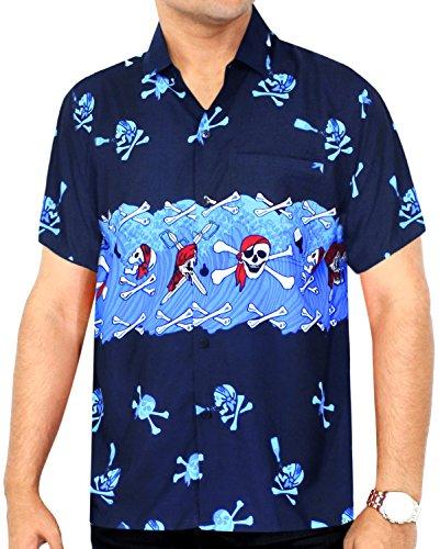 LA LEELA Halloween Pirate Likre Men's Hawaiian Shirt Royal Blue 331 X-Small   Chest 36