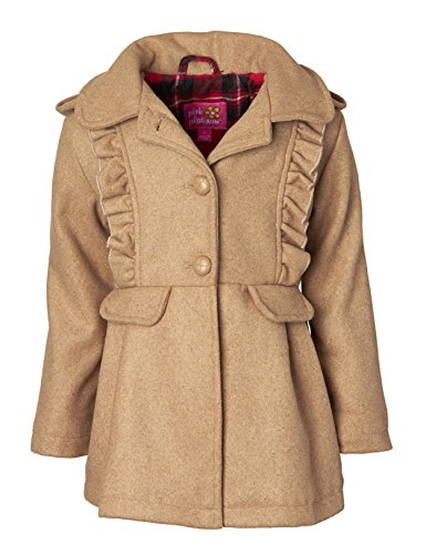 Peacoat Ruffle (Pink Platinum Girls Wool Blend Hooded Plaid Lined Winter Dress Pea Coat Jacket - Khaki (Size 4))