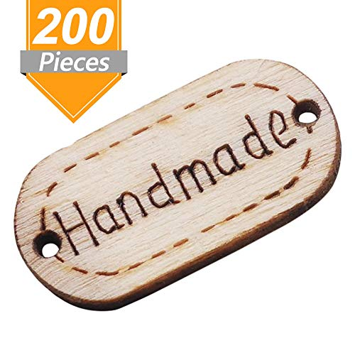 (Onwon 200 Pieces Handmade Tag Label Oval Wood Handmade Tags Button Wooden Buttons with 2 Hole for Crafts Sewing Scrapbooking Clothing Decoration)