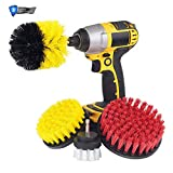 Drill Brush Craft Dies Electric Drill Head Set of Yellow 5 Piece Set with Two Extension Rods Scrub Drill Cleaning Brush Attachments Cleaning Pool Tile Flooring Brick XLGX (Yellow)