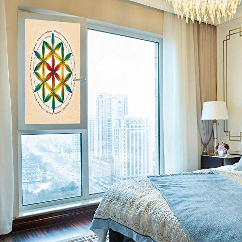 YOLIYANA Non-Toxic Window Film,Sacred Geometrty Decor,for Indoor & Outdoor Window,Symbol of Fundamental Aspect of Space and Time,24''x48''