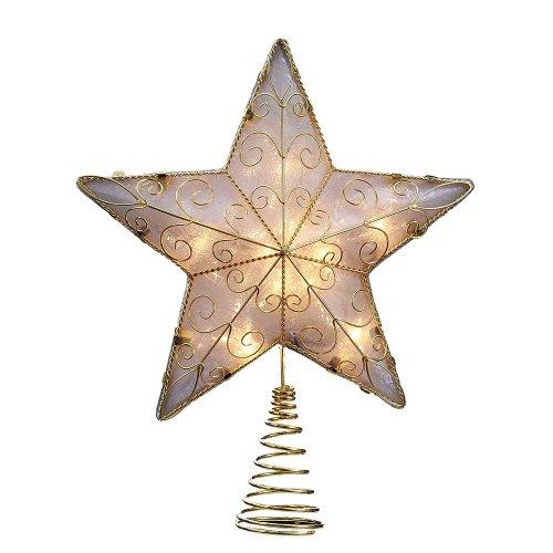 Kurt Adler 10 Light 8.5-Inch Gold Reflector Star Treetop (Topper Christmas Tree Shop Tree)