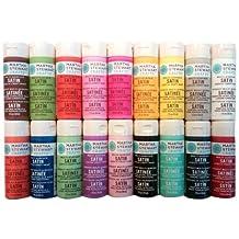 Martha Stewart Crafts Multi-Surface Satin Acrylic Craft Paint Set (2-Ounce), PROMO767B Bright (18-Pack)