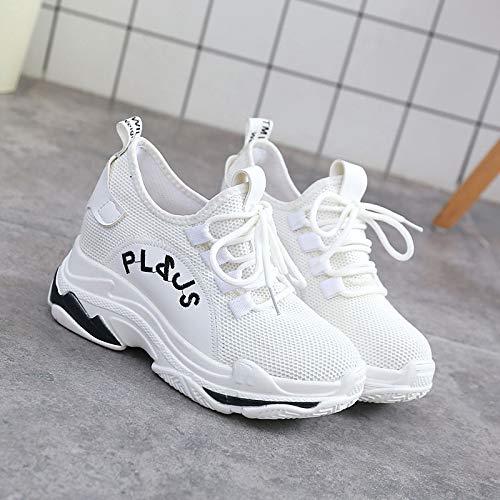 Rosso Bianco tonda Comfort Mesh Punta poliuretano ZHZNVX Nero da White donna Sneakers Autunno PU Creepers Scarpe 47TSH6