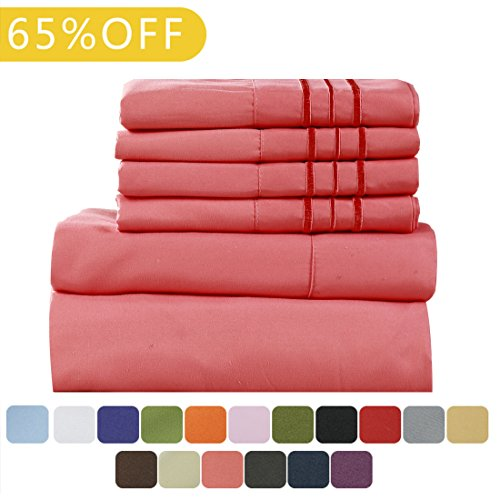 Sea Coral Branch (TasteLife 105 GSM Deep Pocket Bed Sheet Set Brushed Hypoallergenic Microfiber 1800 Bedding Sheets Wrinkle, Fade, Stain Resistant - 6 Pcs(Coral, Queen))