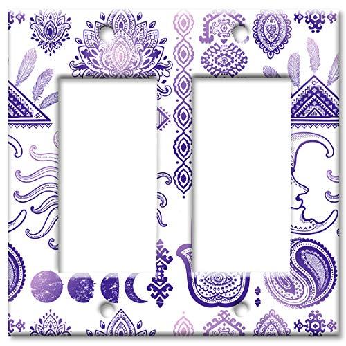 Art Plates 2 Gang Decora - GFCI Wall Plate - Purple Sun and Moon Toss