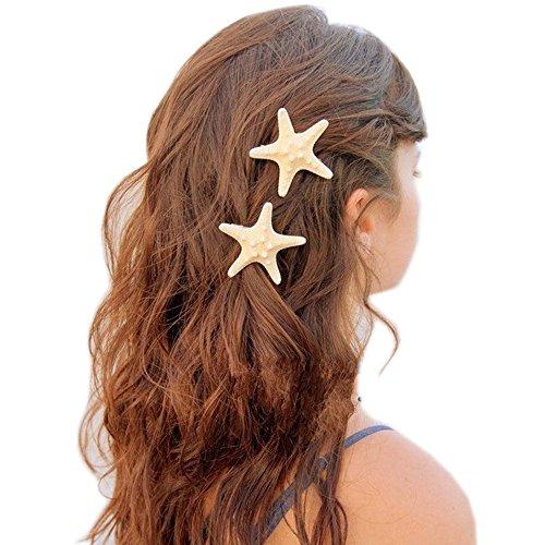 Patiky Womens Girl Starfish Clips Natural Starfish Hairpin Star Hair Headwear Accessories 2 Pack TS02 (Starfish)