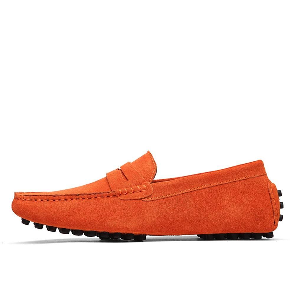 Fuxitoggo Mode-Leder-Müßiggänger auf für Männer, die Beleg auf Mode-Leder-Müßiggänger bequemen klassischen großen Stiefelschuhen Fahren (Farbe : Grün, Größe : EU 46) Orange 4eb4b5