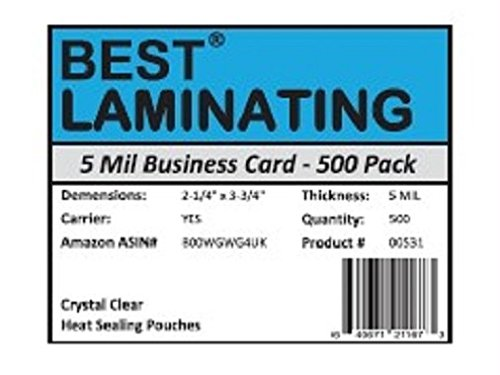 Best Laminating® - 5 Mil Business Card Therm. Laminating Pouches - 2-1/4 x 3-3/4 - 500 Pack