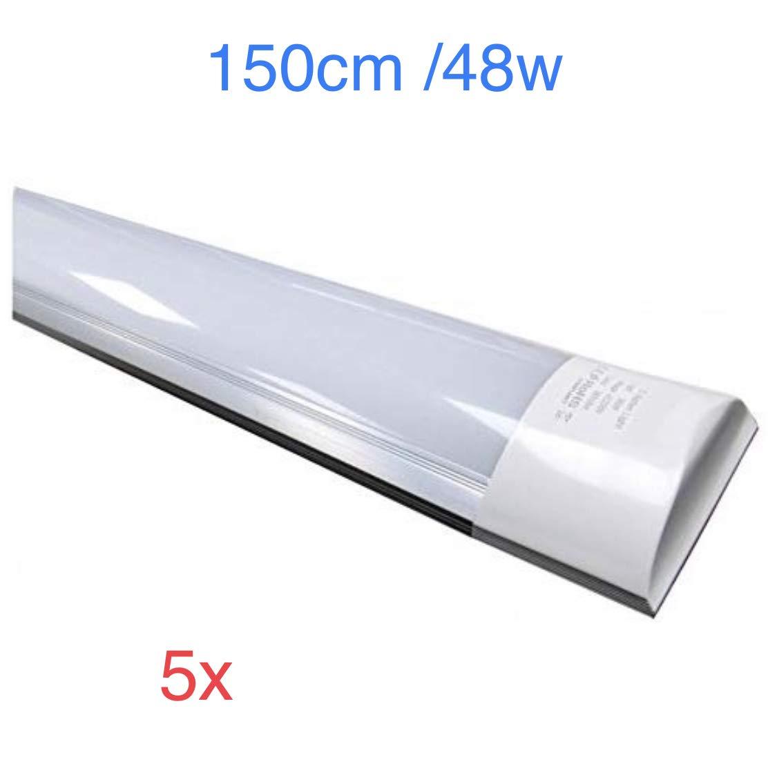 (150 cm) Display, eingebaute LED-Röhre T8, 48 W, kaltweiß (6500 K) staubdicht, entspricht 2 Größen Leuchtstoffröhren oder LED 4800 echten Lumen  Slim LED Leiste Pack 5x Kaltweiß (6500k)