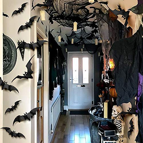 Halloween Decorations Bats 32PCS 3D Halloween Bats Wall Decor Wall Decal PVC 4 Sizes Extra-Large Hanging Bats Halloween Decor Halloween Bat Stickers for Hanging Halloween Decoration Window Door ()