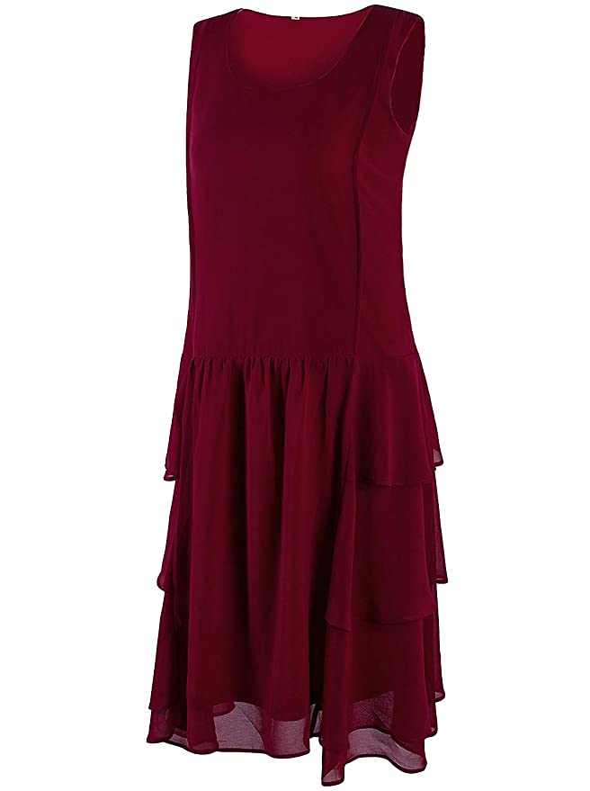 1920s Day / House Dresses and Aprons VIJIV Womens 1920s Inspired Flapper Dress High Tea Great Gatsby Maroon with Tiered Skirt 20s Dress $36.99 AT vintagedancer.com