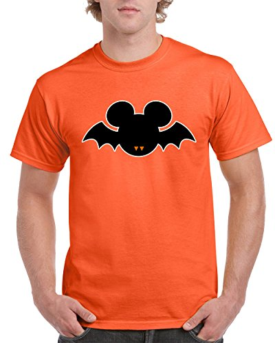 T-Shirts for Men Halloween Costumes Mickey Mouse Bat Disney Men's T-Shirts Round Neck Tee Shirts for Men(Orange,X-Large) -