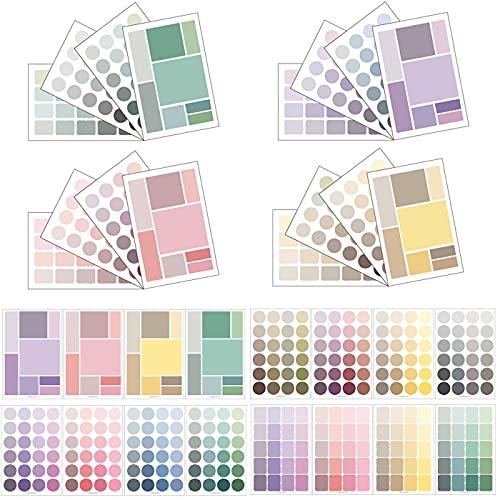 16 Sheet Dots & Square Sticker Colorful Decorative