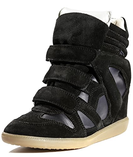 isabel-marant-womens-leather-velcro-closed-high-top-sneakers-37-black