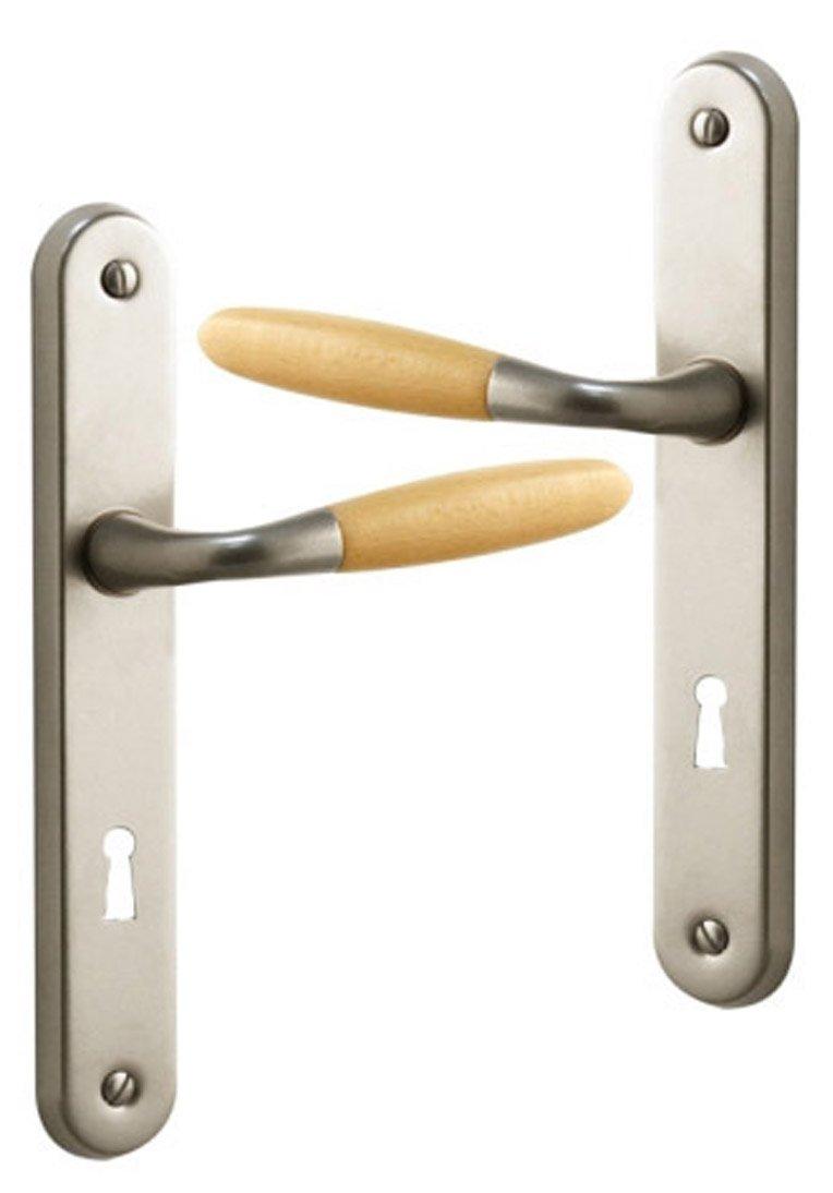 Poign/ée de porte int/érieure design en bois clair et Aluminium nickel mat sur plaque Cl/é L entraxe 195 mm JANICE