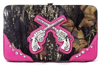 Amazon.com: Western pistola camuflaje rosa Rhinestone bolso ...