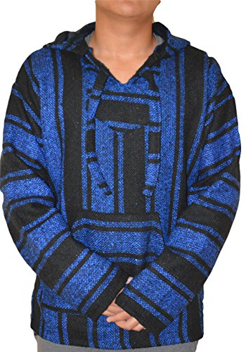 (Galaxy Reborn Mexican Baja Hoodie Blue Black Pullover Jerga Mexican Drug Rug Sweatshirt S M L XL 3XL (Medium))