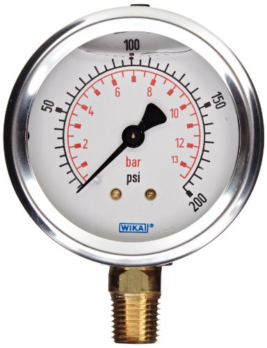 """WIKA 9692032 Industrial Pressure Gauge, Liquid/Refillable, Copper Alloy Wetted Parts, 2-1/2"""" Dial, 0-200 psi (bar) Range, +/- 2/1/2% Accuracy, 1/4"""" Male NPT Connection, Bottom Mount"""