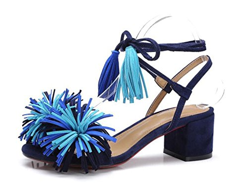Open Toe Pump 2017 Summer New Personality Tassel Lace-up Sandals Scrub Rough Heel Roman Large Shoes ( Color : Blue , Size : 43 ) by GLTER
