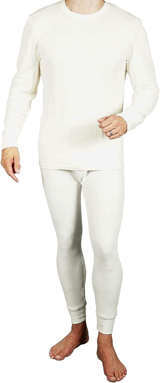 Joe Boxer Mens 2pc Thermal Underwear Set, Crew Top Shirt + Pants Bottom - Long John Set