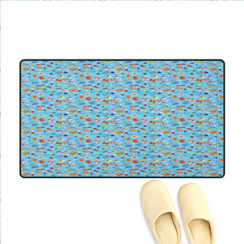 - Birthday Door Mats for Inside Colorful Surprise Present Boxes Socks Mittens and Christmas Balls Pattern on Blue Customize Door mats for Home Mat 24