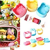 3 unids Set Pink Kitty Conejo Amarillo Oso Azul Bento Lunch Box Sushi Arroz Cortador de Molde
