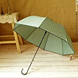 Ligth Green Women'S Long Handle Sun Umbrella Dot Printed Girl Lovely Straight Rain Umbrella