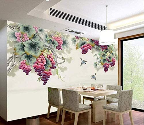 Djskhf カスタムリビングルームの壁紙手描きの収穫紫の香りブドウ金魚鳥3D壁紙 100X50Cm
