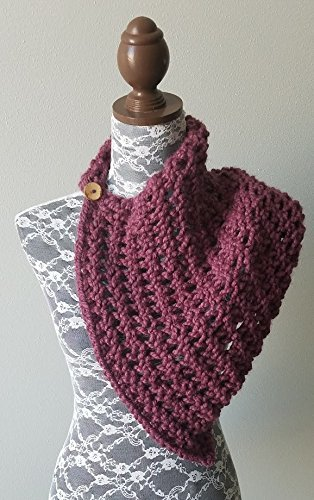 Knitted Knit Scarf, Shawl, Shoulder Wrap with Coconut Button. Handmade in Purple, Fig Chunky Wool Yarn