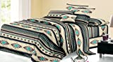 Rustic Western Southwest Native American Design 4 Piece Sheet Set Navajo Print Multicolor Ivory Turquoise Blue black and Grey 17426 Queen Brown/Turquoise Sheet Set