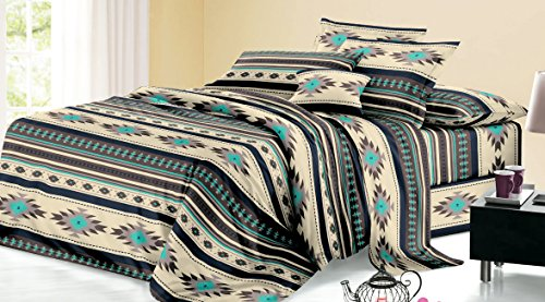 Rustic Western Southwest Native American Design 4 Piece Sheet Set Navajo Print Multicolor Ivory Turquoise Blue black and Grey 17426 Queen Brown/Turquoise Sheet Set (Scottsdale Queen Comforter)