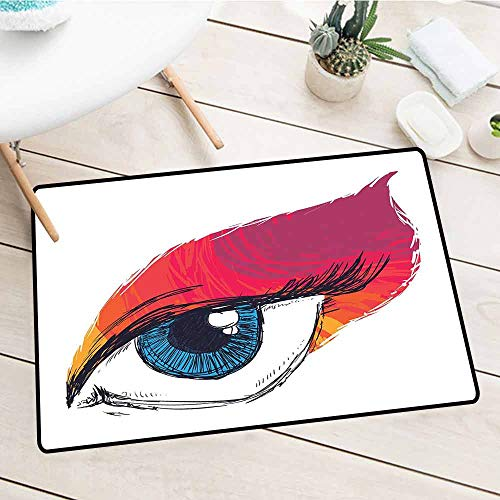 NineHuiTechnology Outdoor Décor Mat, Eye, Simple Sketch Art of a Single Blue Eye in Abstract Style Vision and Inspiration Symbol, Multicolor, 15.5