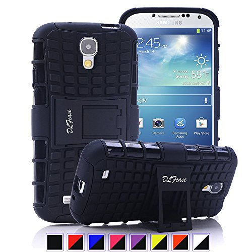 Galaxy S4 Case, [ Shockproof ] Samsung Galaxy S4 Case Heavy Duty Rugged Dual Layer TPU Textured Non Slip Reinforced Polycarbonate Hybrid Case for Samsung Galaxy S4 with Kickstand (Black) (Samsung Galaxy S4 Case 2 Layer)