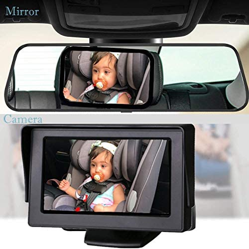 Baby-Mirror For-Car Back-Seat - Baby Car Camera With Night Vision, View Infant In Rear Facing Seat With 4.3-Inch HD Display, Observe The Baby's Every Move At Any Time While Driving