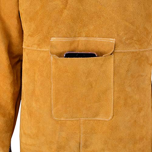 LAIABOR Leather Welding Apron, Flame Resistant Welder Clothes Coat with Sleeves, wear-Resistant Anti-Scald Heavy Duty Apron Anti-Flame Long Protective Clothing Durable,Brass by LAIABOR (Image #3)