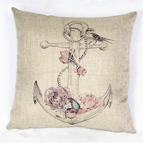 Luxbon Ozean Meer Kissenbezug Lendenkissen Bettkissen Zierkissen Cover Pillowcase Hülle Haus Zimmer Auto Dekokissen 45 x 45 cm Rose und Vogel Anker Anchor