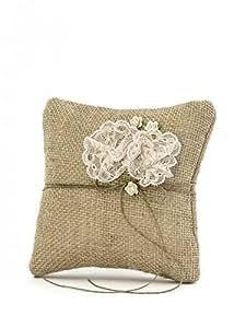 Shabby Chic de arpillera boda anillo cojín con encaje dos flores
