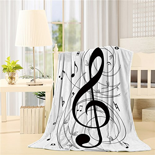 "Price comparison product image CHAOGO Luxury Flannel Throw Blanket Digital Printing 60""x80"" Music Notes Unique Air Conditioning Travel Camping Blankets Lightweight Sofa Couch Bed"