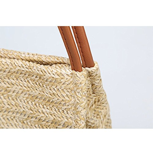 Clutch Summer Bohemia Beach Strap Bag Bag for Use Everyday Purse Women Handbag Women Beach Straw Beige Style Straw Leisial Weave Travel Holiday w41X8Pqx