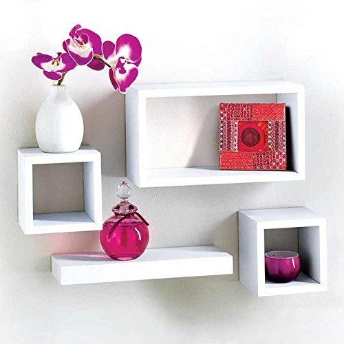 Salerno MDF 4 Piece Floating Wall Cube Shelf Shelves White Storage