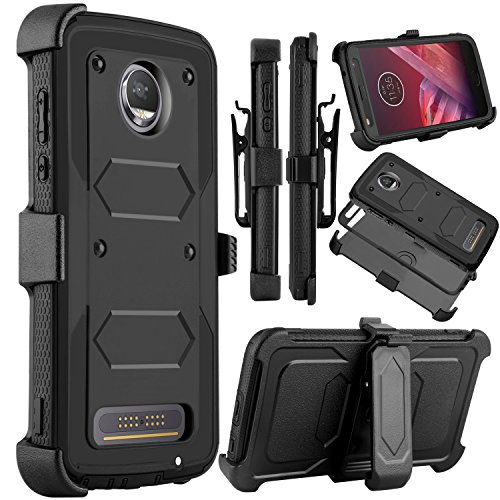 Moto Z2 Force Case, Moto Z2 Play Case, Venoro Heavy Duty Shockproof Full Body Protection Rugged Hybrid Case Cover with Swivel Belt Clip and Kickstand for Motorola Z Force 2017 (Black)