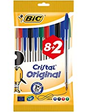 BIC Cristal Original Ballpoint Pens Medium Point (1.0 mm) - Assorted Colours, Pouch of 8+2